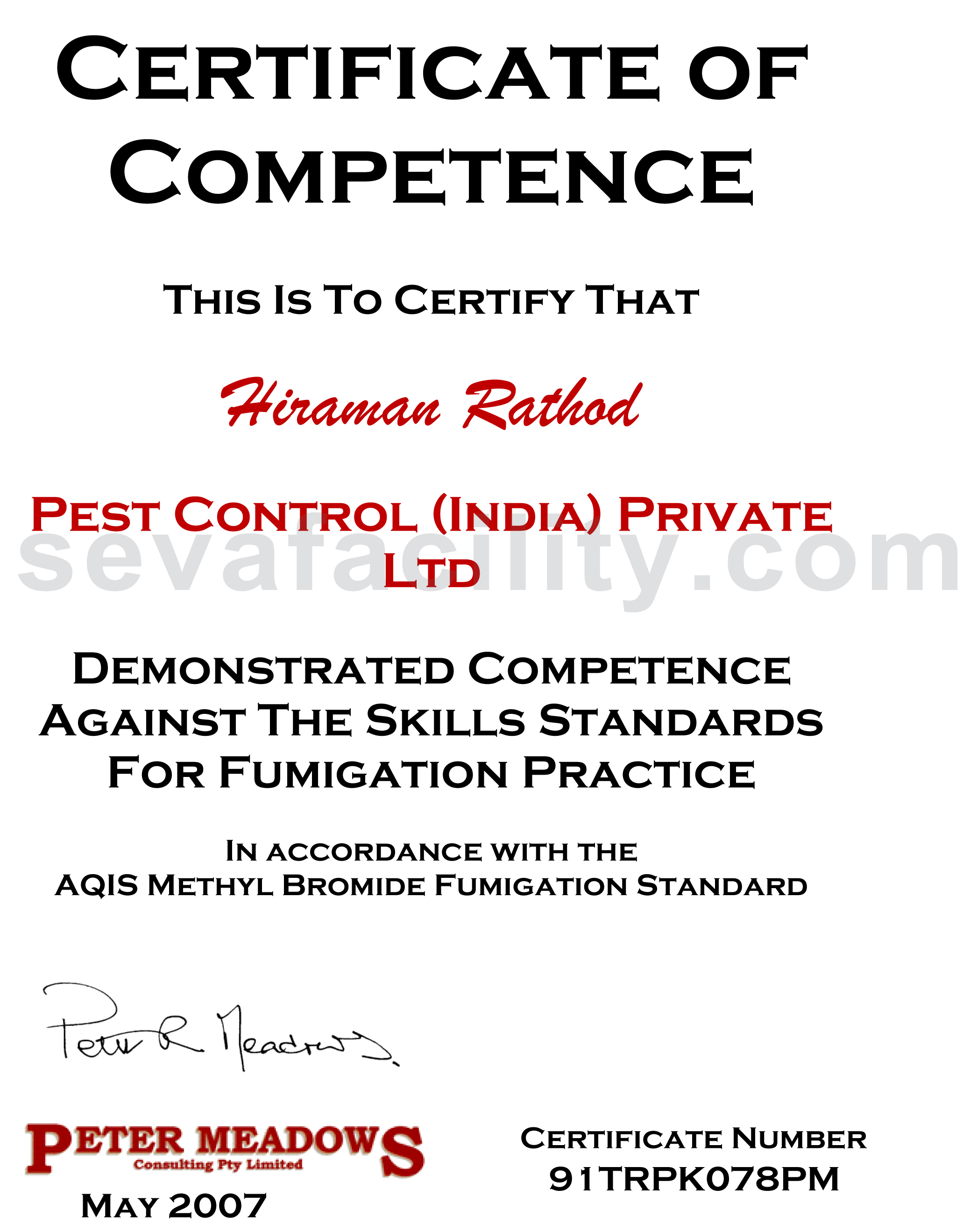 Seva facility services pest control in pune pest control certificates xflitez Gallery
